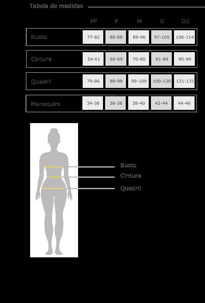tabela de medidas - Evidence Ballet
